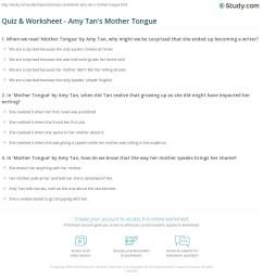 Quiz \u0026 Worksheet - Amy Tan's Mother Tongue   Study.com [ 1197 x 1140 Pixel ]