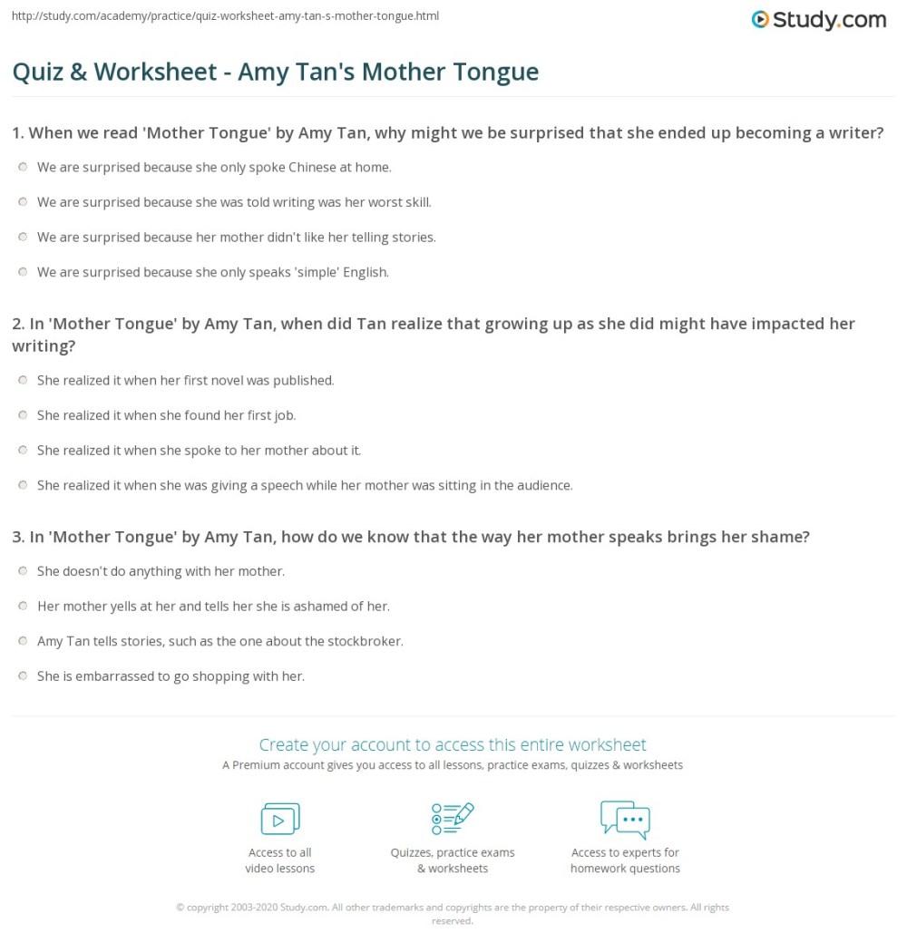 medium resolution of Quiz \u0026 Worksheet - Amy Tan's Mother Tongue   Study.com