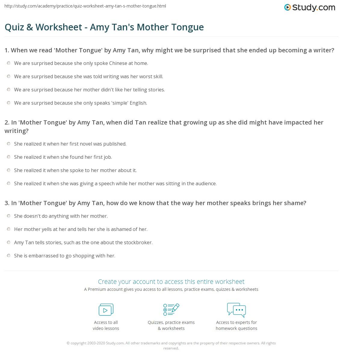 hight resolution of Quiz \u0026 Worksheet - Amy Tan's Mother Tongue   Study.com