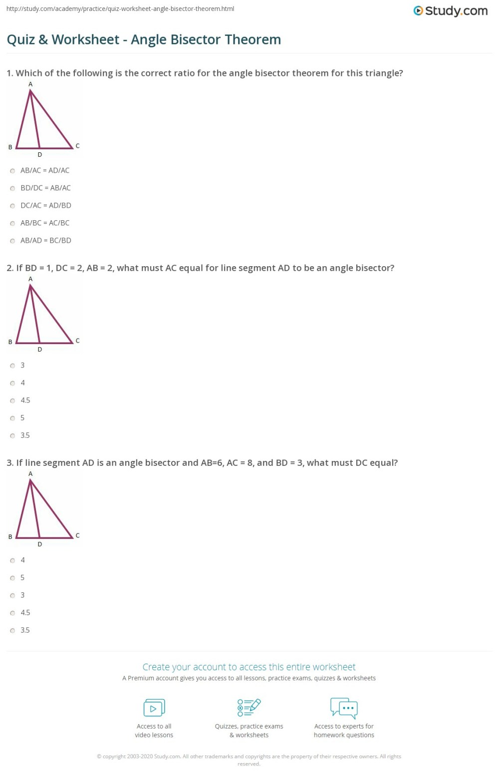 medium resolution of Quiz \u0026 Worksheet - Angle Bisector Theorem   Study.com