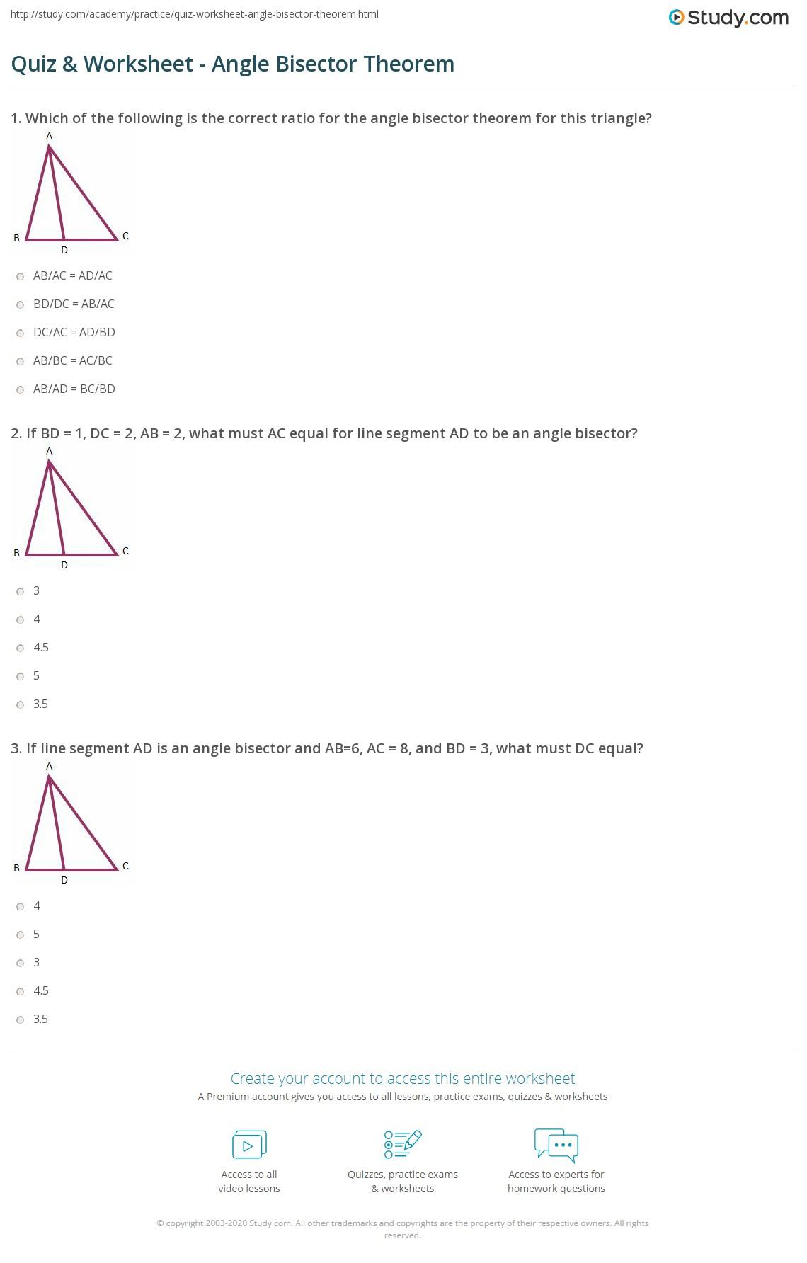 hight resolution of Quiz \u0026 Worksheet - Angle Bisector Theorem   Study.com