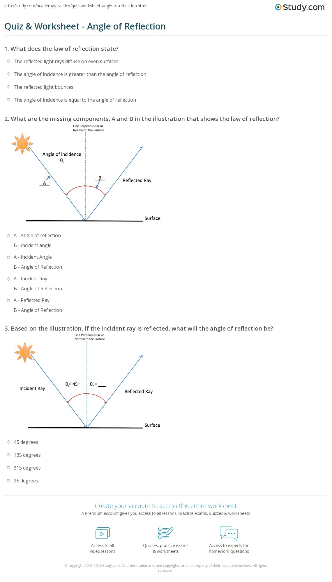Reflection And Refraction Worksheet Worksheets Tutsstar