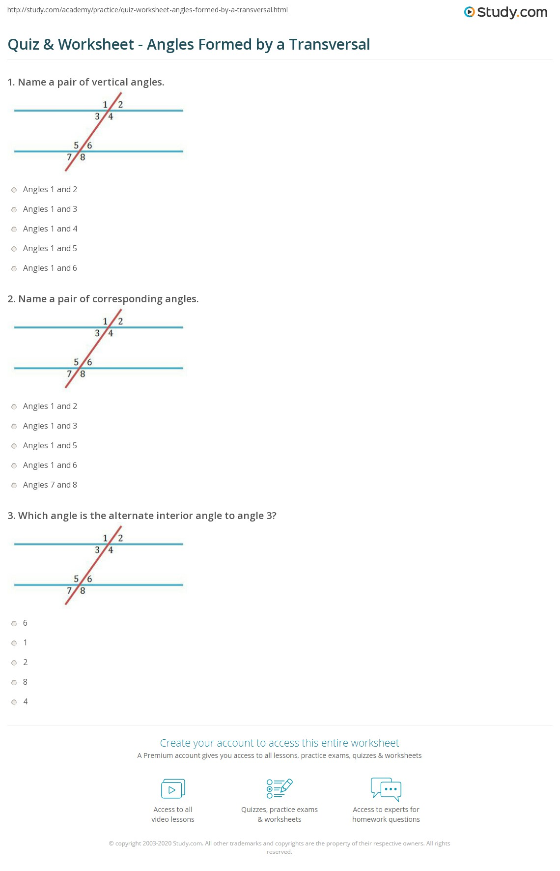 Worksheet Parallel Lines And Transversals Worksheets