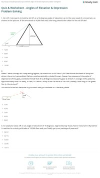 Printables. Angle Of Elevation And Depression Worksheet ...