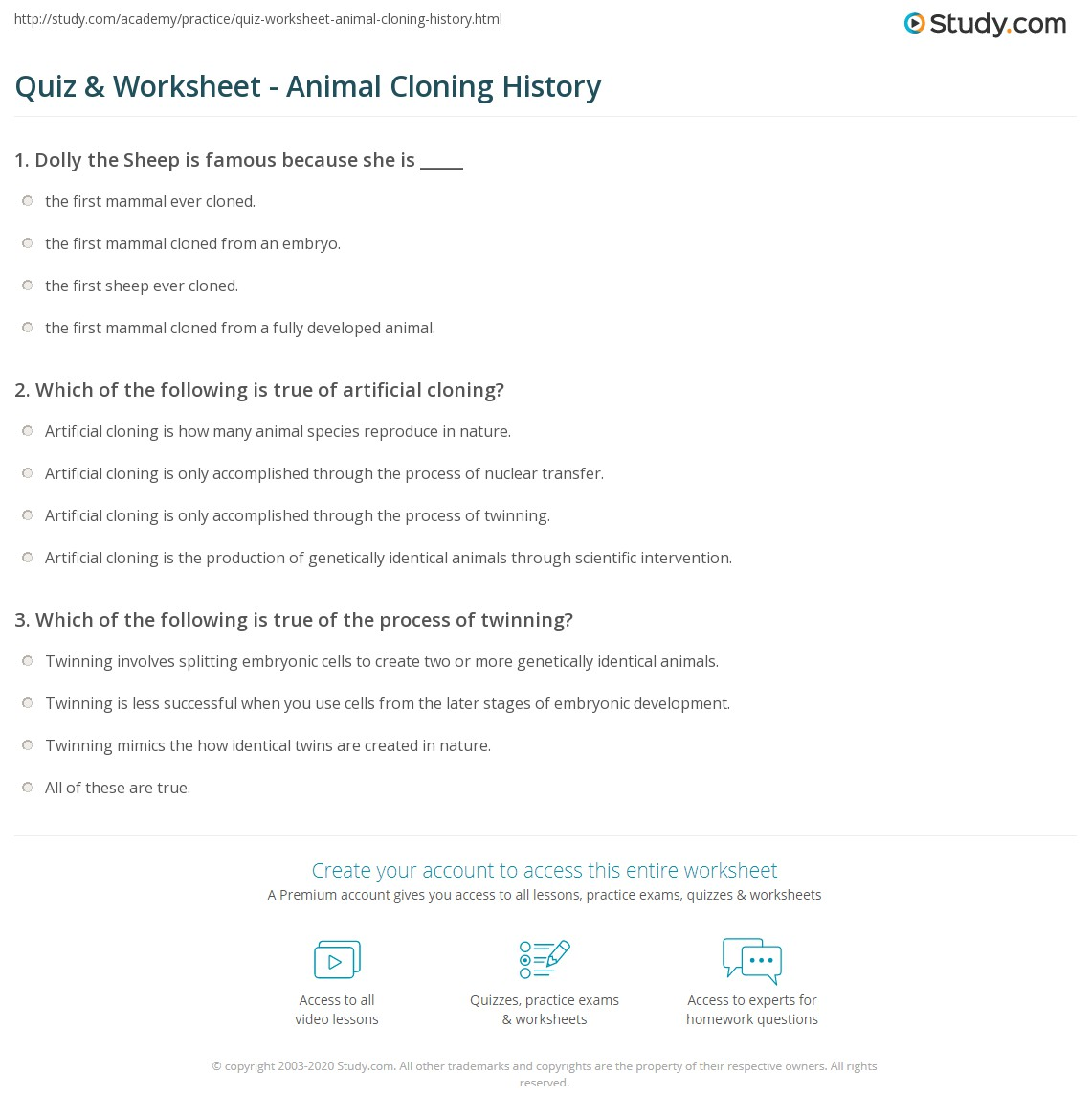 Cloning Worksheet Answers