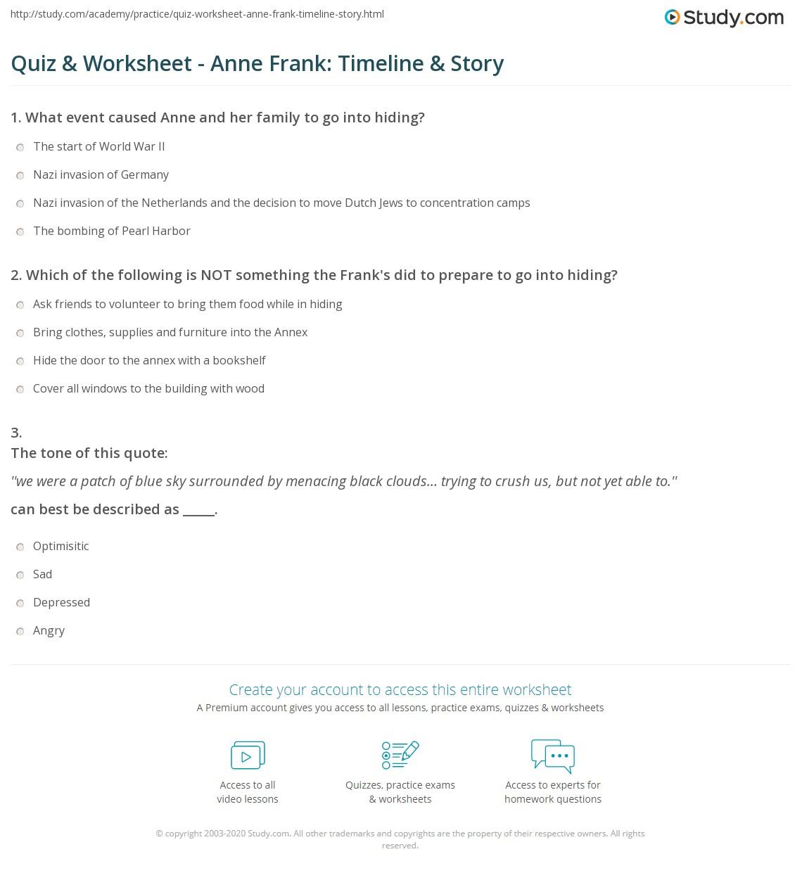 Anne Frank Timeline Worksheet