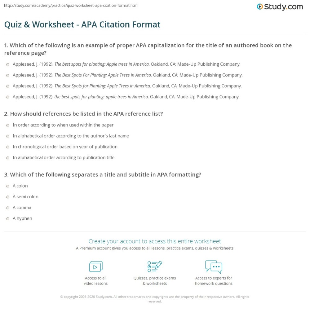 medium resolution of Quiz \u0026 Worksheet - APA Citation Format   Study.com
