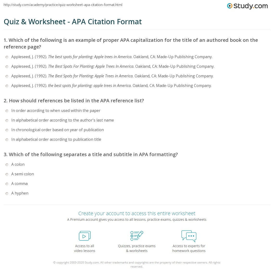 hight resolution of Quiz \u0026 Worksheet - APA Citation Format   Study.com