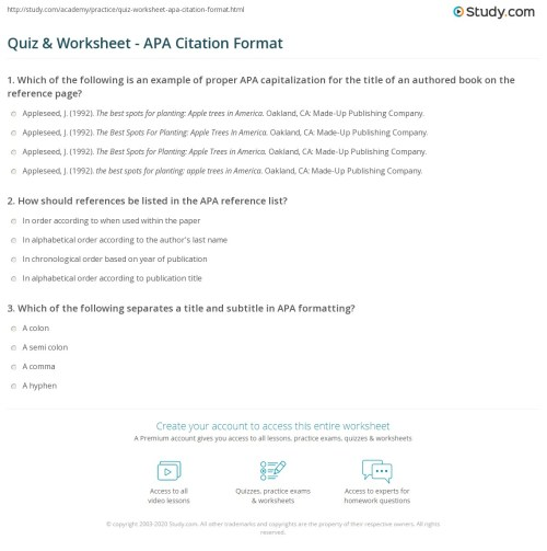 small resolution of Quiz \u0026 Worksheet - APA Citation Format   Study.com