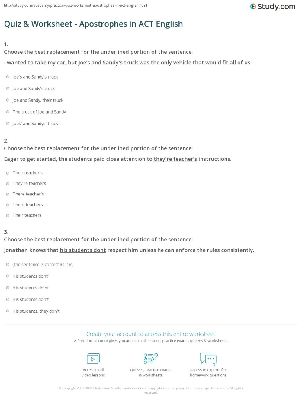 medium resolution of Quiz \u0026 Worksheet - Apostrophes in ACT English   Study.com