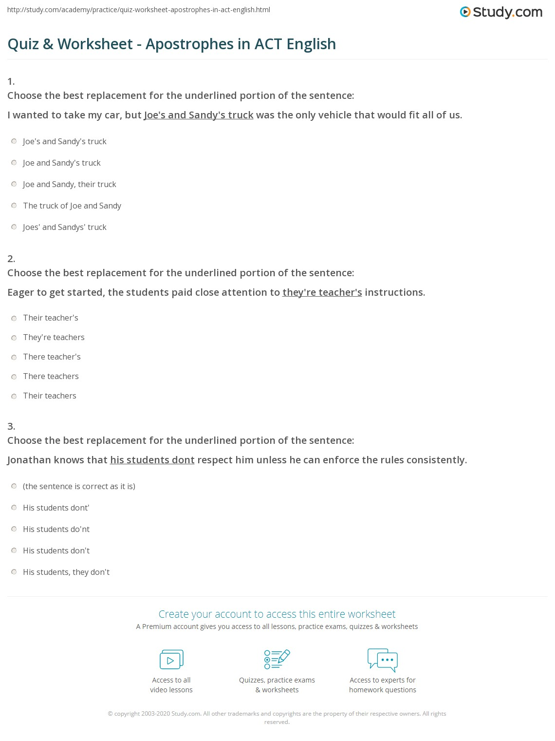hight resolution of Quiz \u0026 Worksheet - Apostrophes in ACT English   Study.com