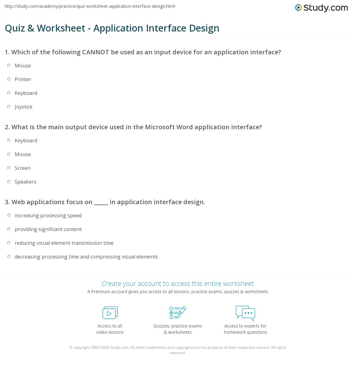 Output Devices Quiz Worksheet