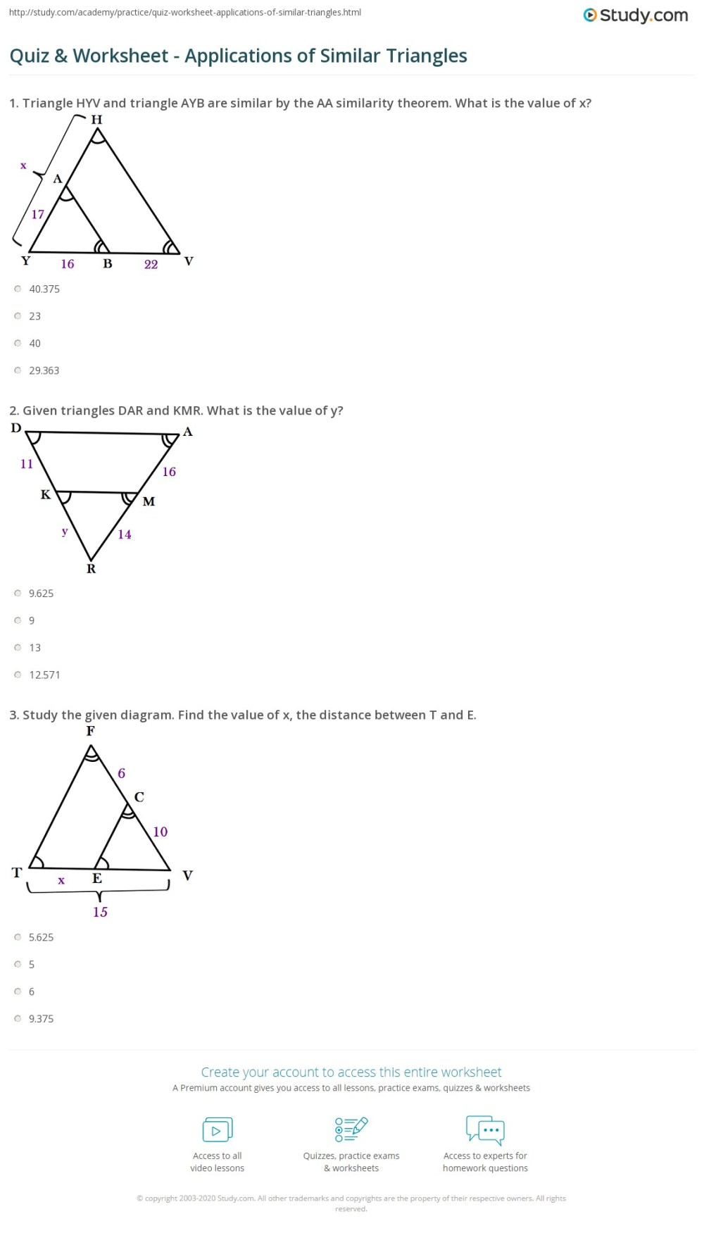 medium resolution of Quiz \u0026 Worksheet - Applications of Similar Triangles   Study.com