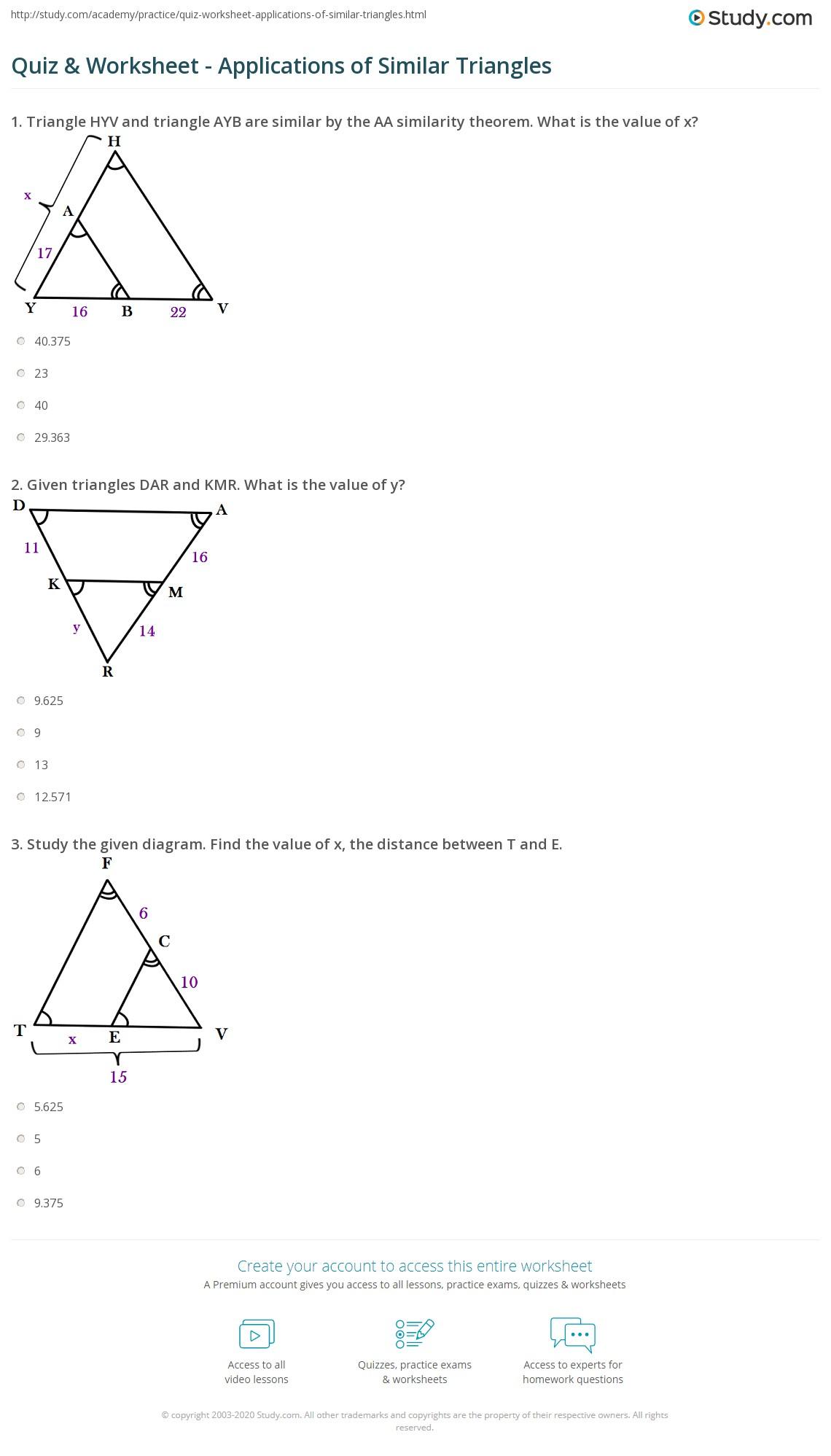 hight resolution of Quiz \u0026 Worksheet - Applications of Similar Triangles   Study.com