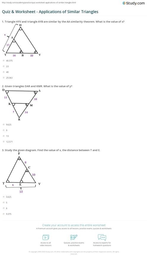 small resolution of Quiz \u0026 Worksheet - Applications of Similar Triangles   Study.com