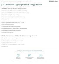 Quiz & Worksheet - Applying the Work-Energy Theorem ...