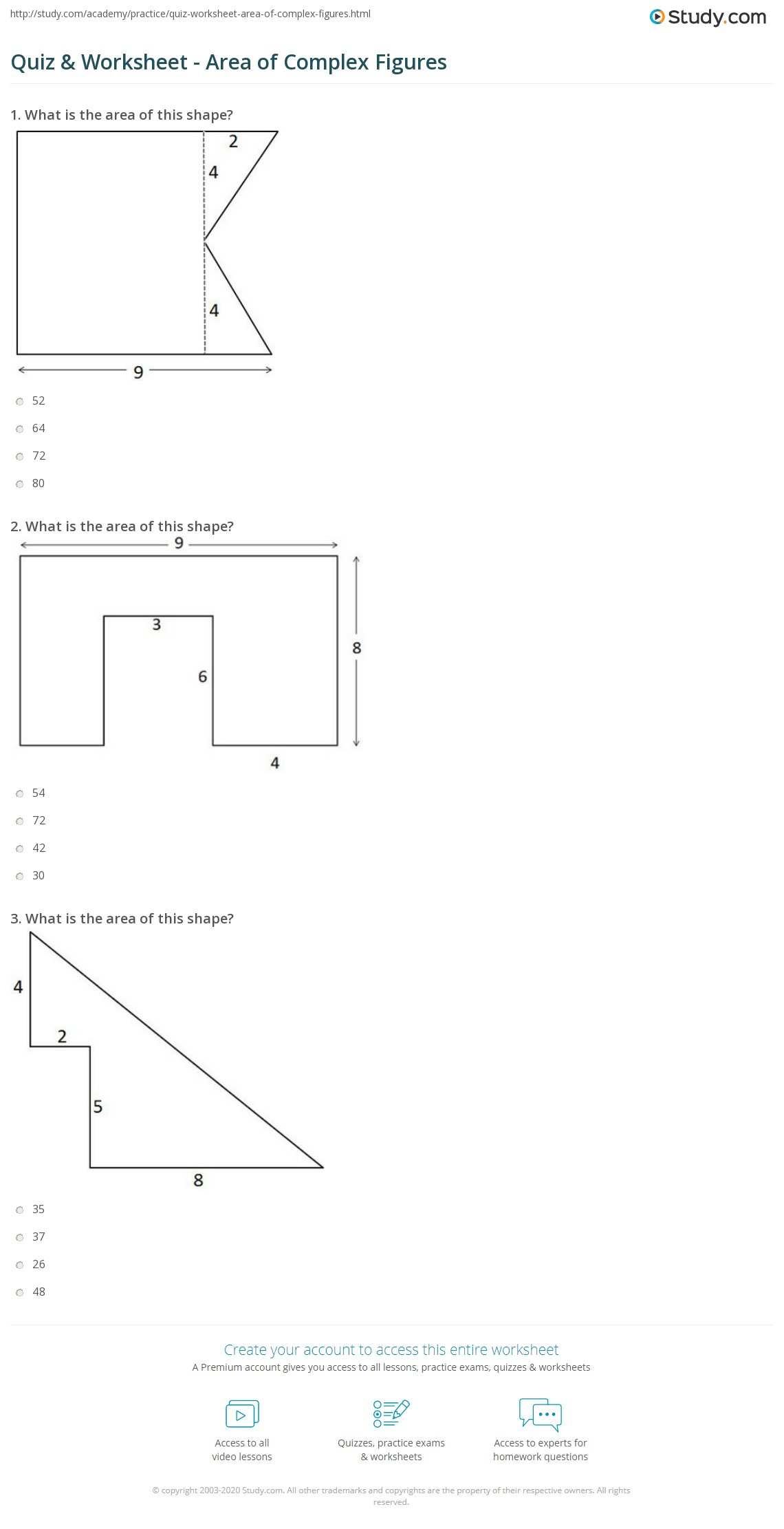 Area Worksheet Geometry