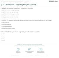 Quiz & Worksheet - Assessing Body Fat Content | Study.com