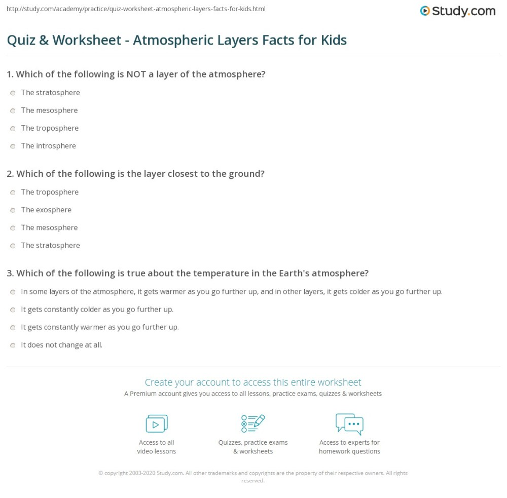 medium resolution of Quiz \u0026 Worksheet - Atmospheric Layers Facts for Kids   Study.com
