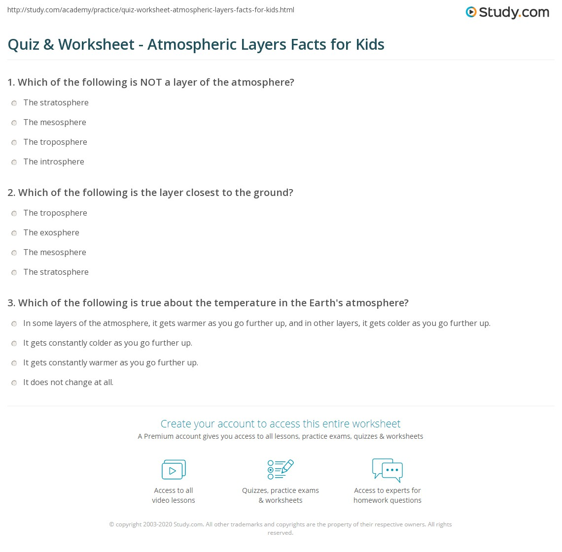hight resolution of Quiz \u0026 Worksheet - Atmospheric Layers Facts for Kids   Study.com