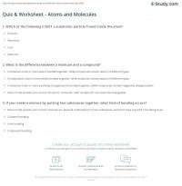 Quiz & Worksheet - Atoms and Molecules | Study.com