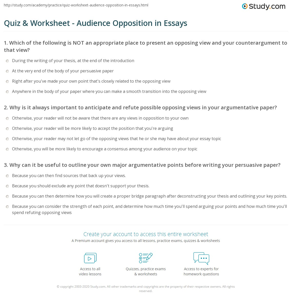 How To Start An Opposing View Essay