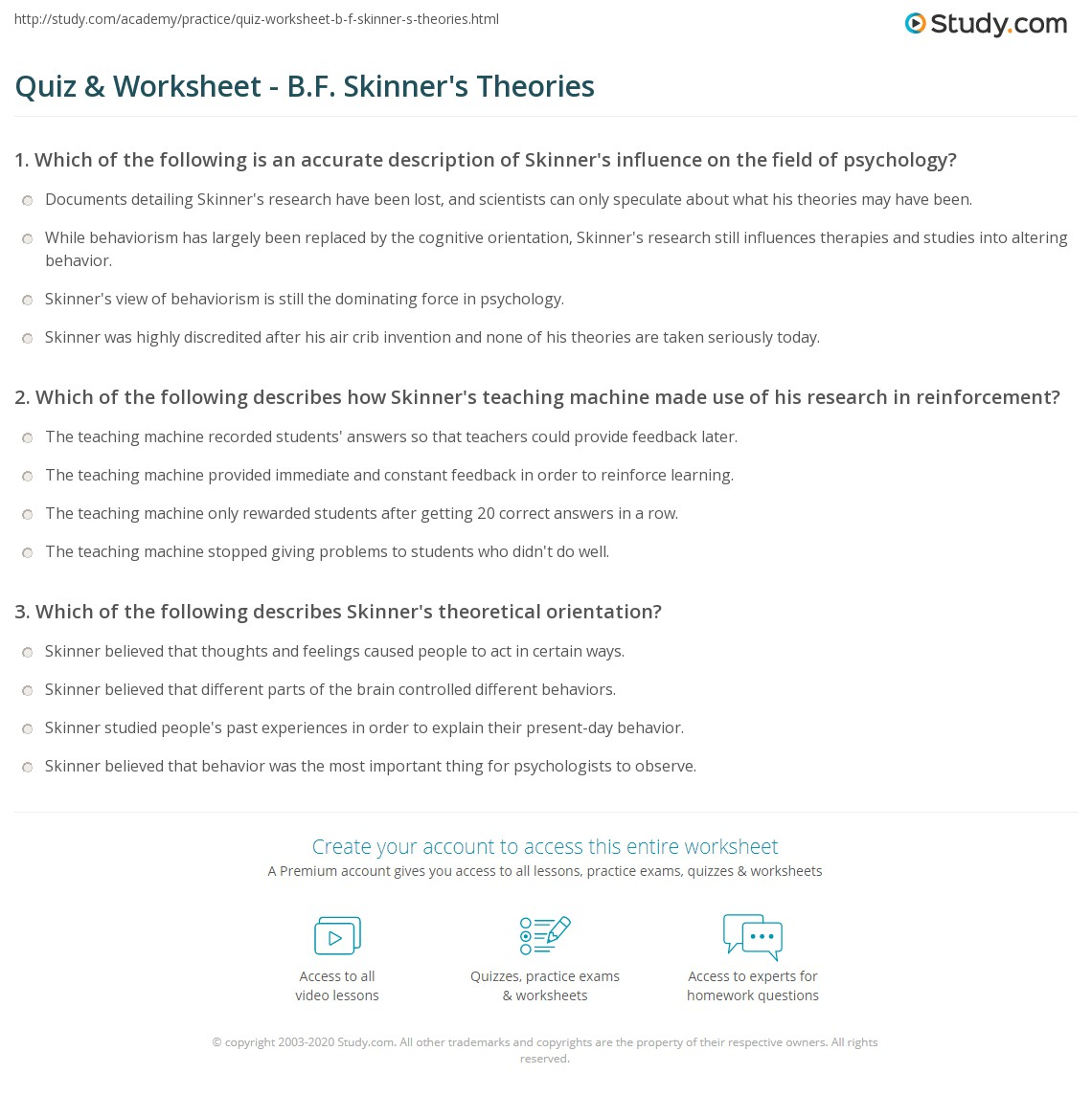 Theories Of Motivation Worksheet
