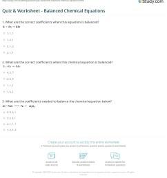 Quiz \u0026 Worksheet - Balanced Chemical Equations   Study.com [ 1247 x 1140 Pixel ]