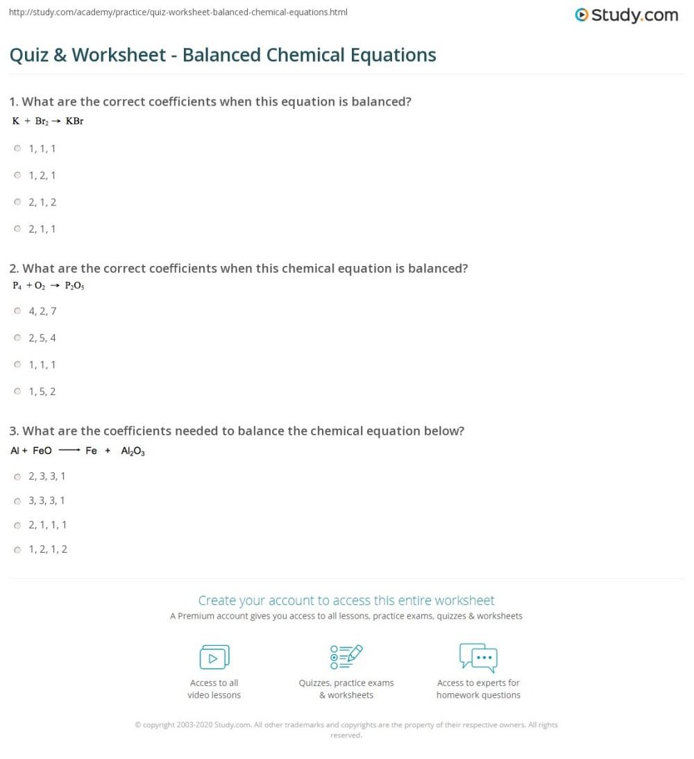 medium resolution of Quiz \u0026 Worksheet - Balanced Chemical Equations   Study.com