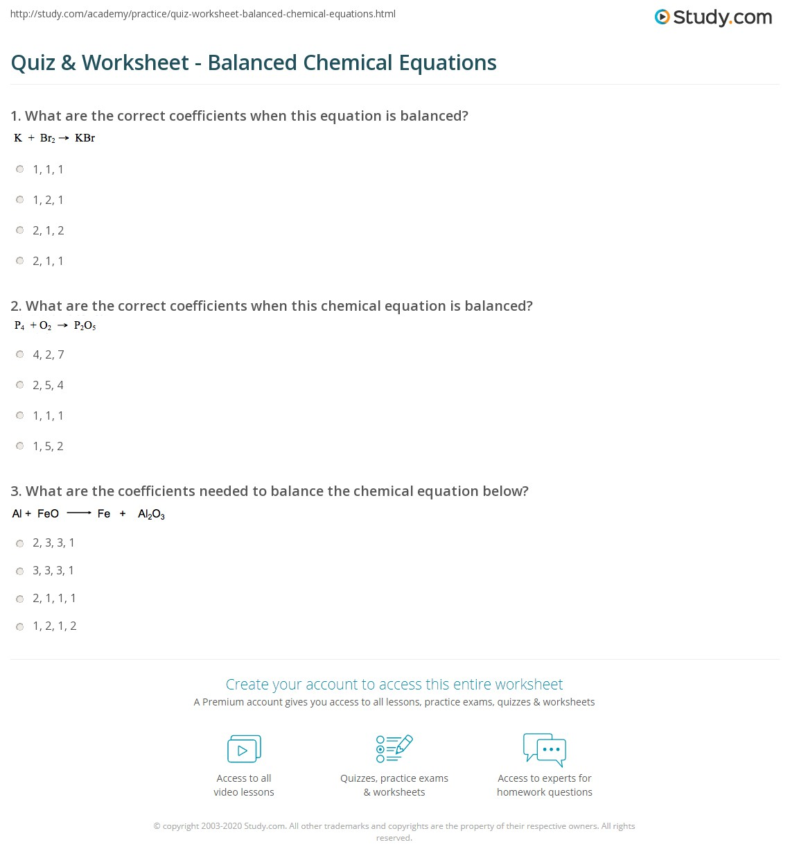 hight resolution of Quiz \u0026 Worksheet - Balanced Chemical Equations   Study.com