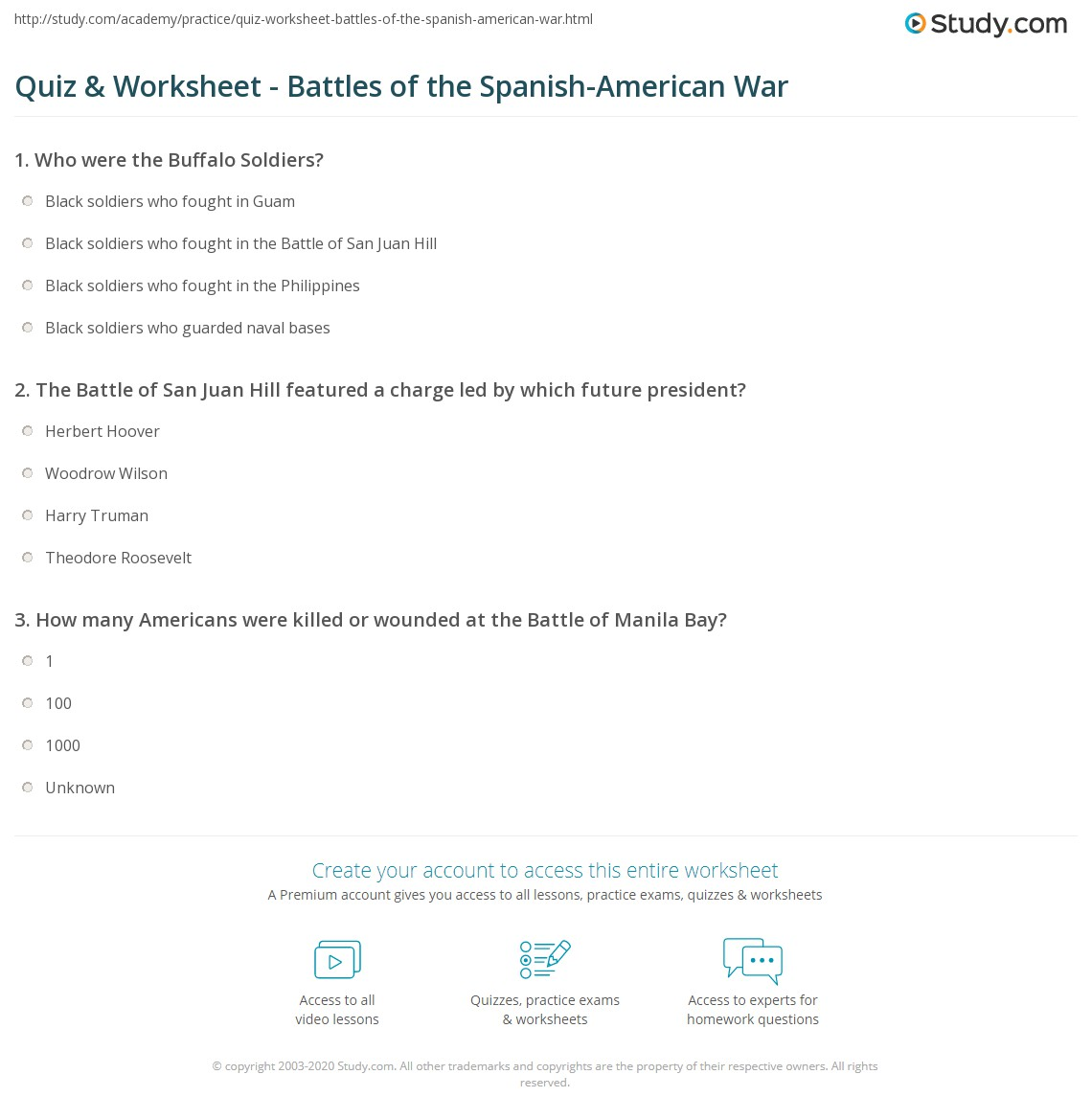Spanish American War Worksheet Answers