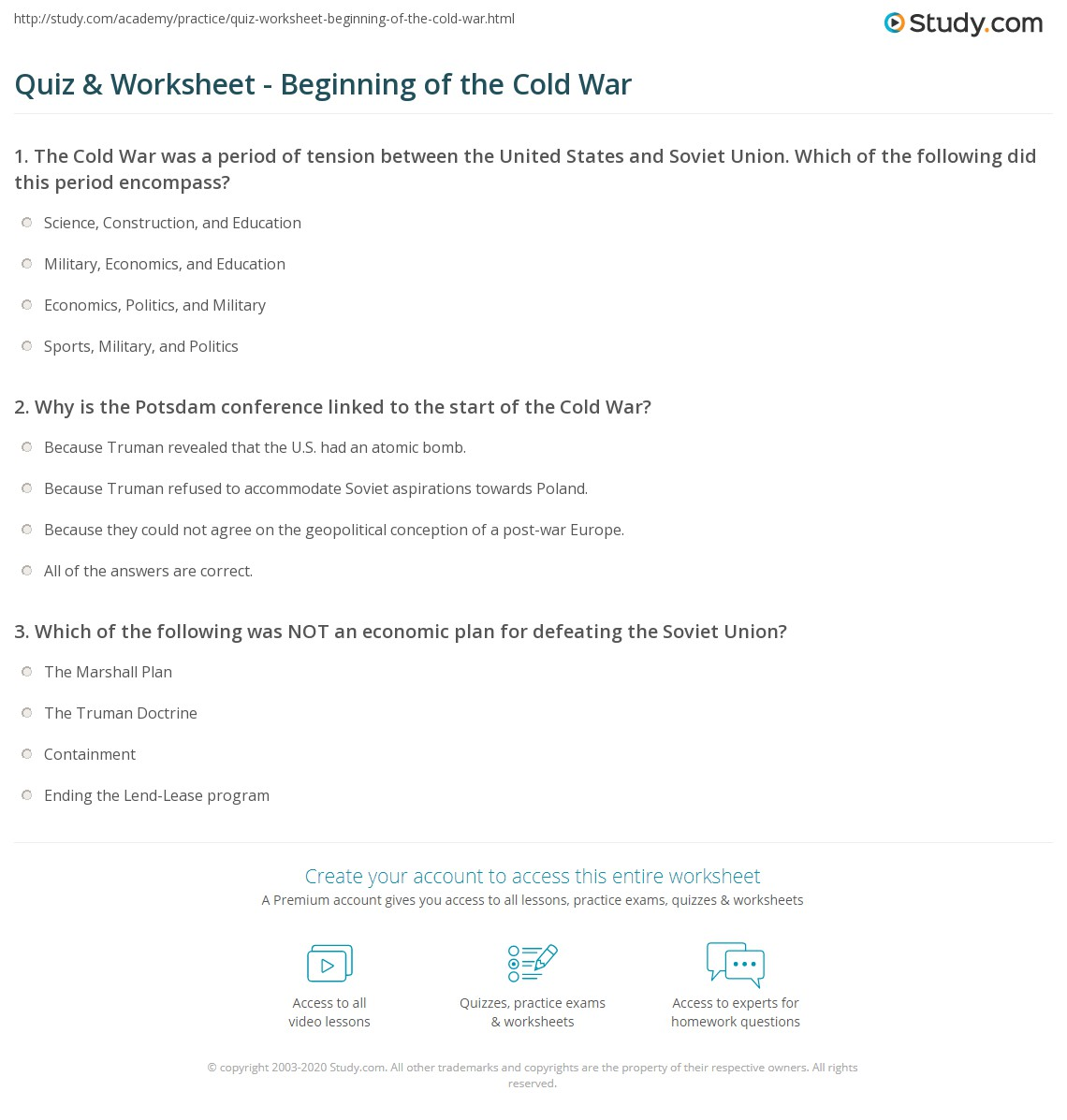 Cold War Worksheets Worksheets For School