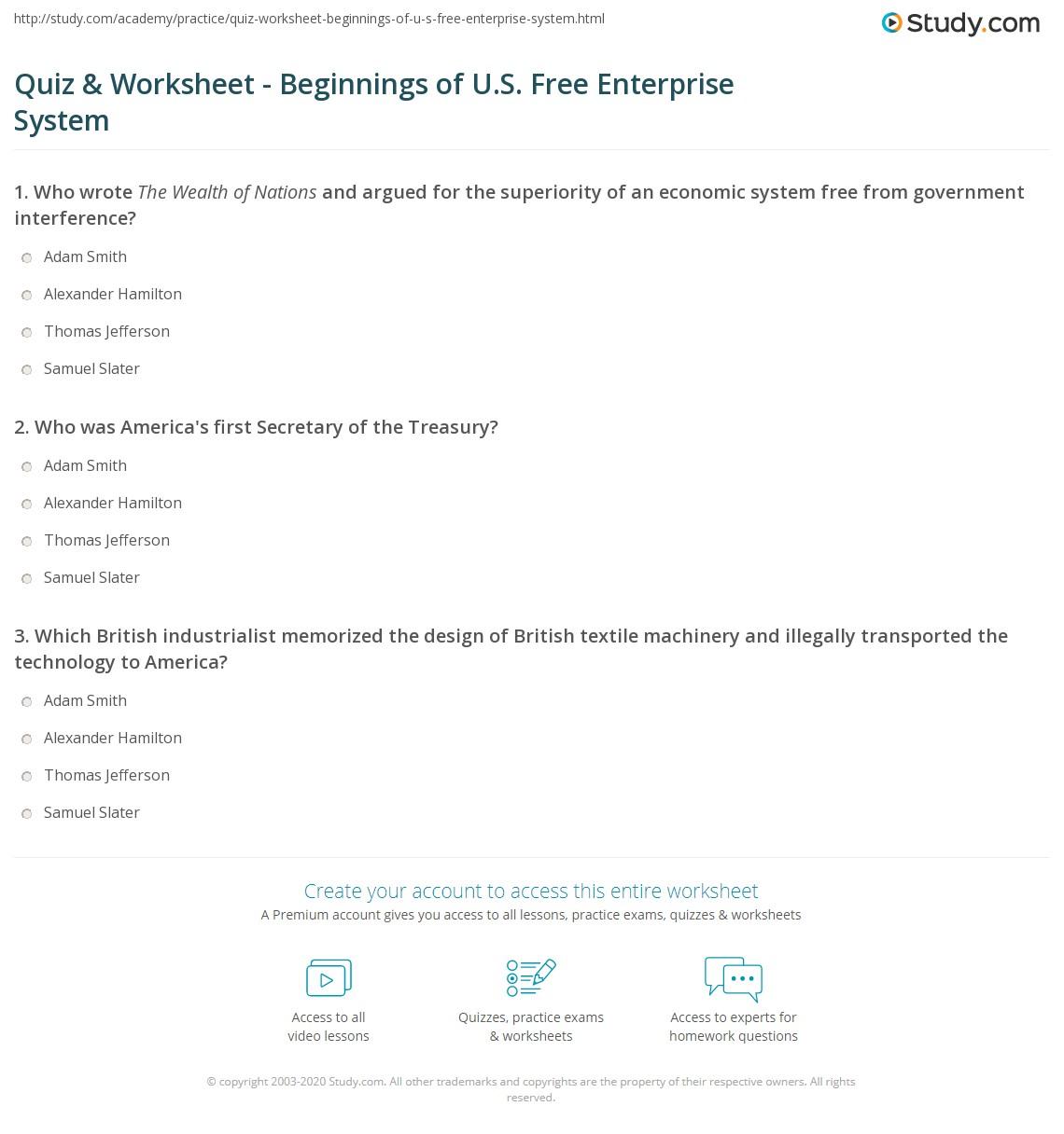 32 Chapter 3 American Free Enterprise Worksheet Answers