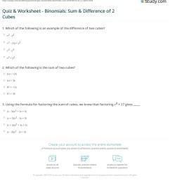 Quiz \u0026 Worksheet - Binomials: Sum \u0026 Difference of 2 Cubes   Study.com [ 1247 x 1140 Pixel ]