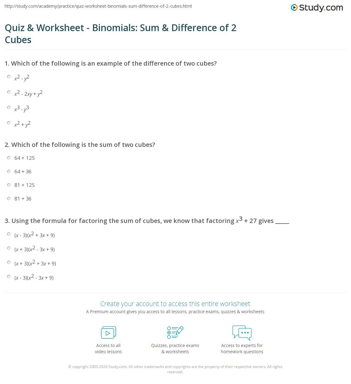 hight resolution of Quiz \u0026 Worksheet - Binomials: Sum \u0026 Difference of 2 Cubes   Study.com