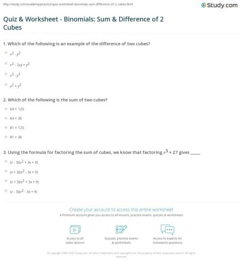 small resolution of Quiz \u0026 Worksheet - Binomials: Sum \u0026 Difference of 2 Cubes   Study.com