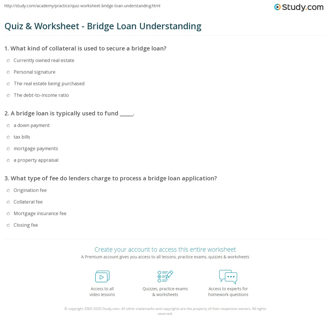 Quiz W Ksheet Bridge Lo N Underst Nd G Study