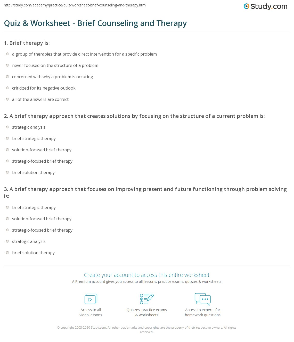Solution Focused Brief Therapy Worksheet