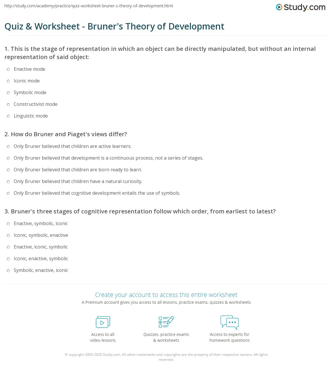 Cognitive Mode Worksheet