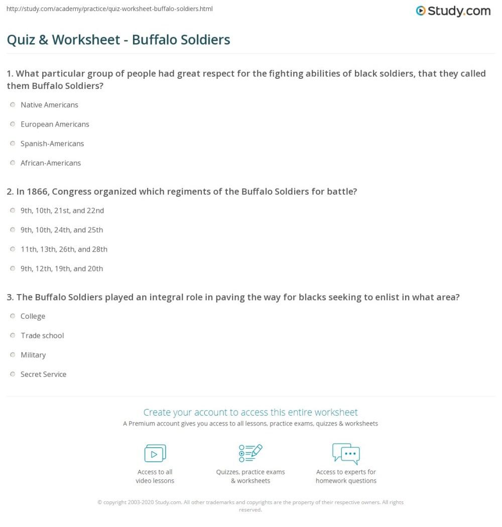 medium resolution of Quiz \u0026 Worksheet - Buffalo Soldiers   Study.com