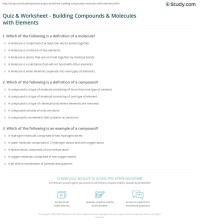Quiz & Worksheet - Building Compounds & Molecules with ...