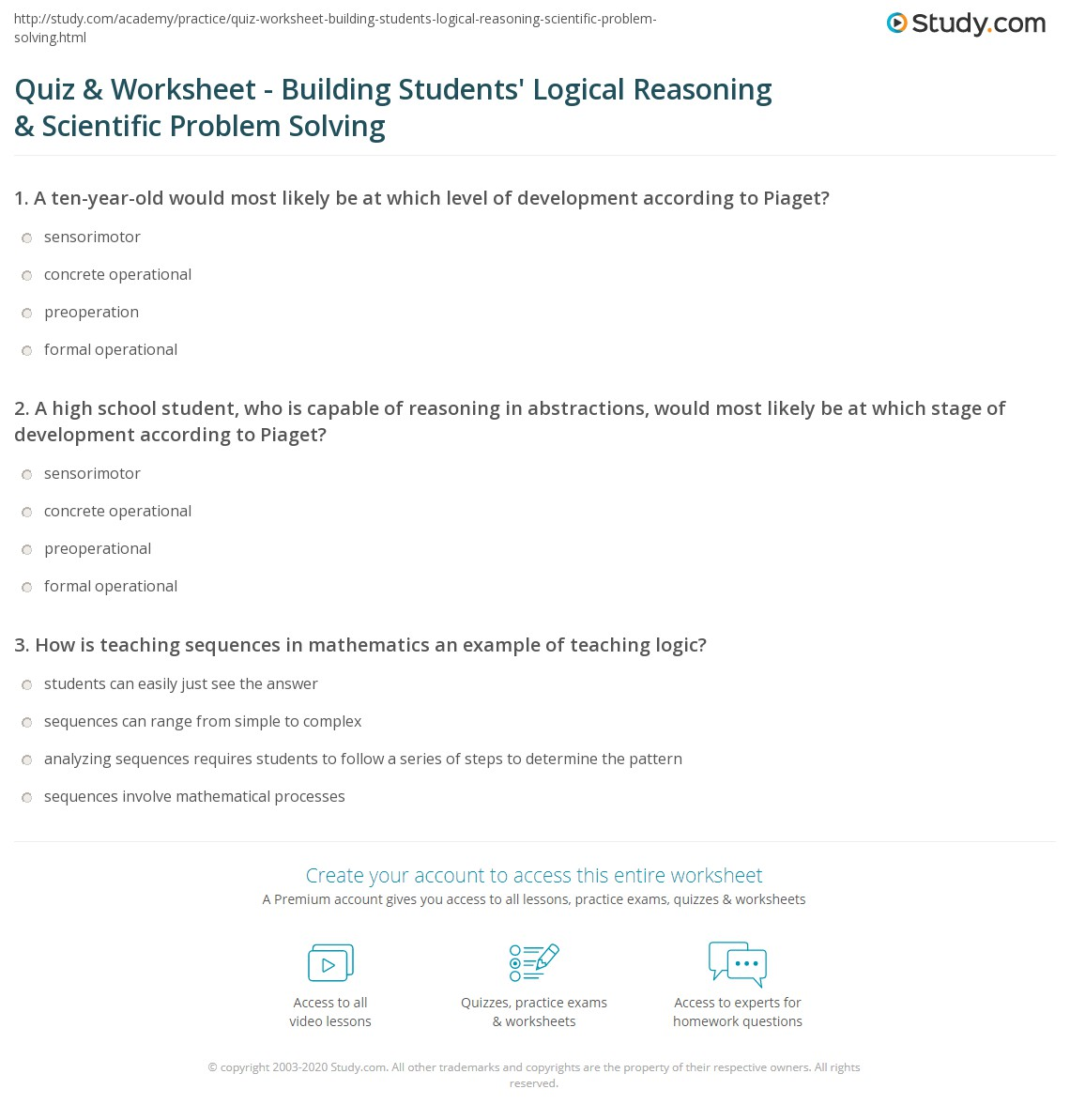 Reasoning And Problem Solving Problem Solving Reasoning