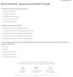 Quiz \u0026 Worksheet - Buoyancy \u0026 Archimedes' Principle   Study.com [ 1269 x 1140 Pixel ]