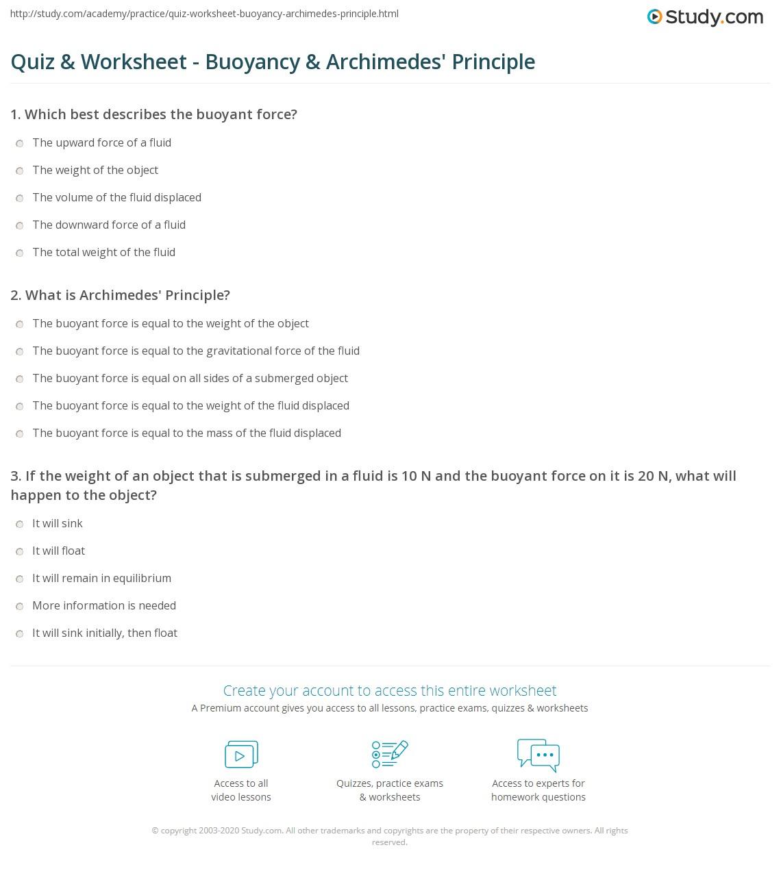 hight resolution of Quiz \u0026 Worksheet - Buoyancy \u0026 Archimedes' Principle   Study.com