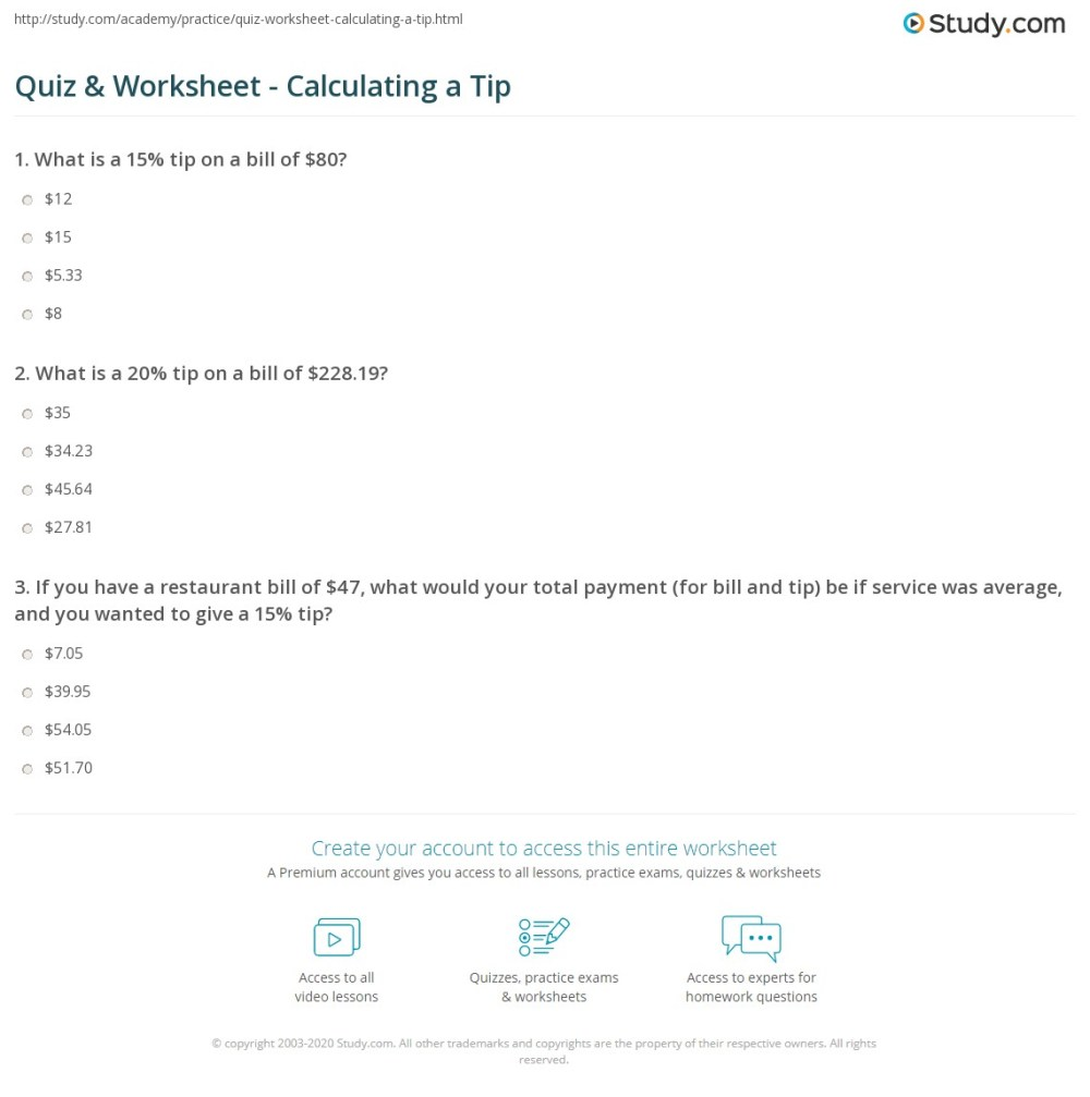 medium resolution of Quiz \u0026 Worksheet - Calculating a Tip   Study.com