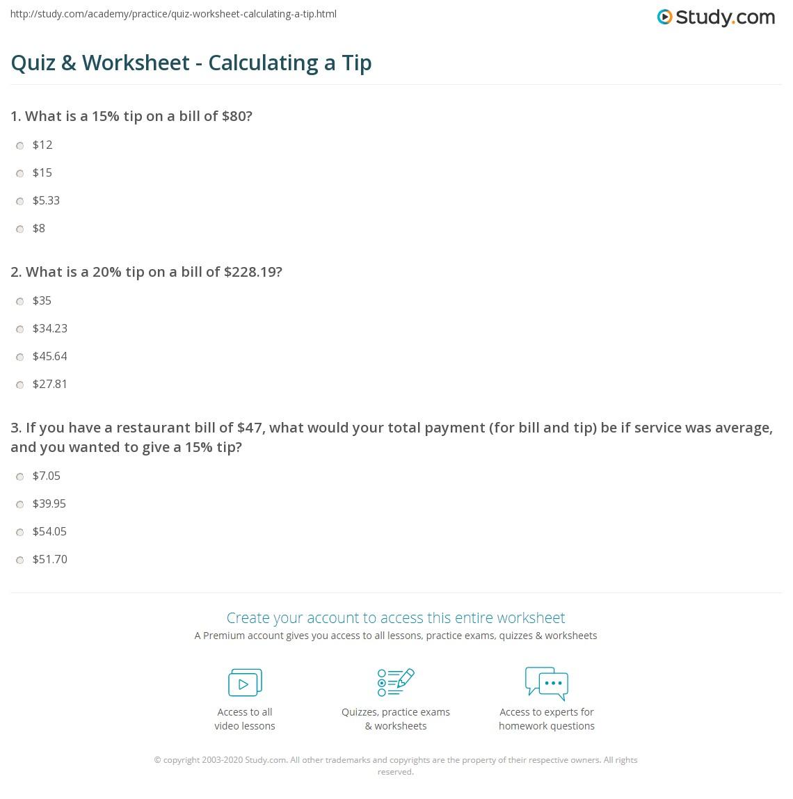 hight resolution of Quiz \u0026 Worksheet - Calculating a Tip   Study.com