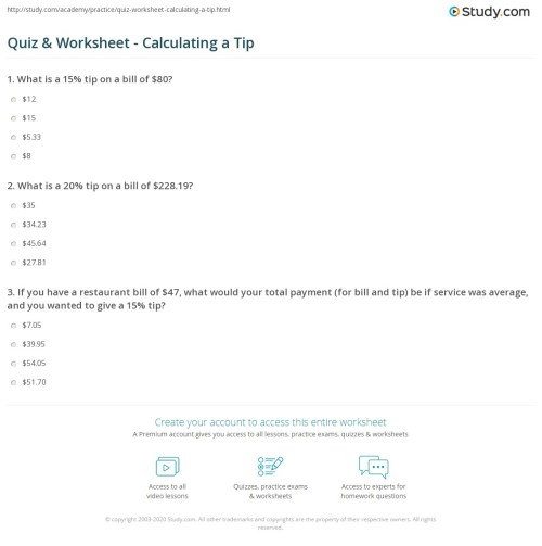 small resolution of Quiz \u0026 Worksheet - Calculating a Tip   Study.com