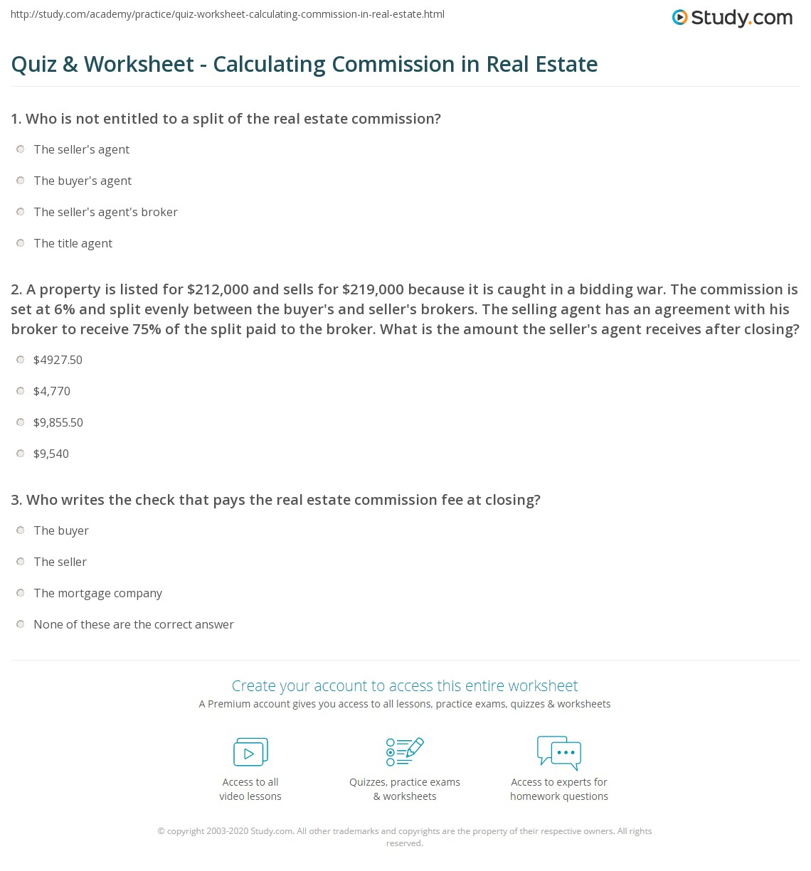 30 Commission Worksheet With Answers