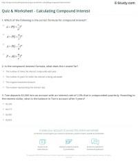 Compound Interest Formula Worksheet - 1000 images about ...