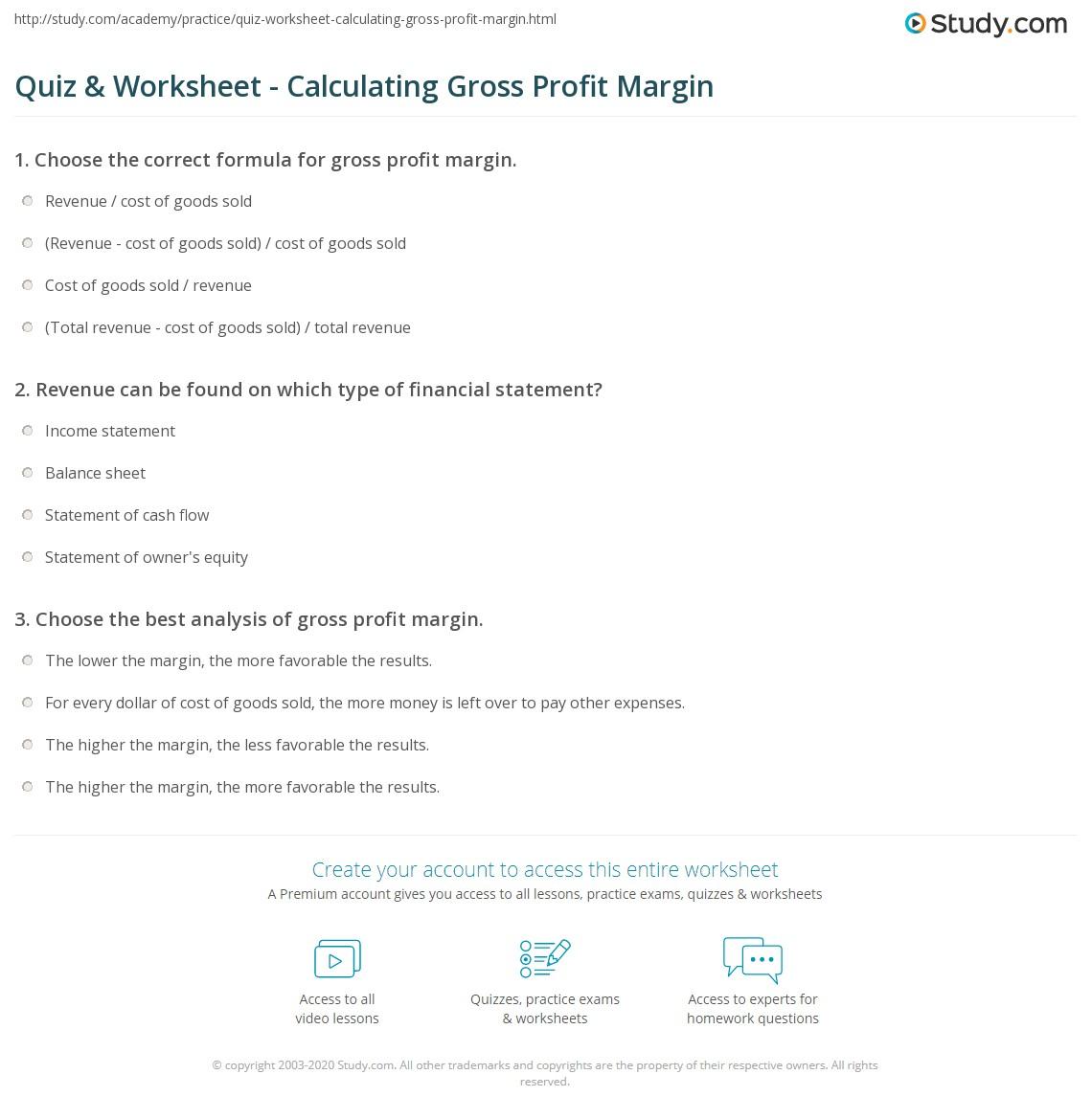 Profit Margin Equation Example